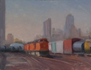 trains - 4/14/14, 11 x 14 inches, oil on panel
