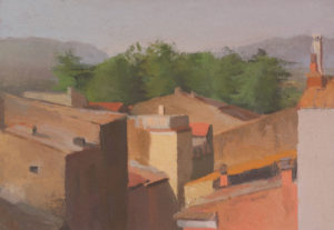 Civita Rooftops with Pines, 10 x 14.5 inches, oil on paper 2015