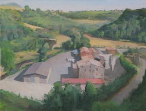 Tre Re, Civita Castellana, oil on paper mounted on board, 2015
