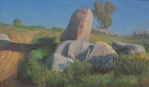 West Hills Boulder Grouping, 34 x 20 inches, oil on linen