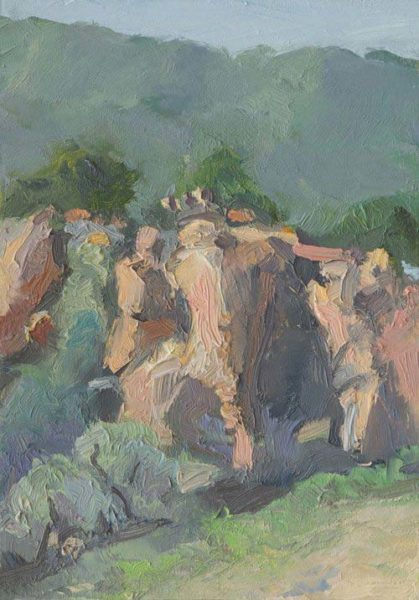 Morning Light on Anza Boulders, 5 x 7 inches, oil on panel 2106